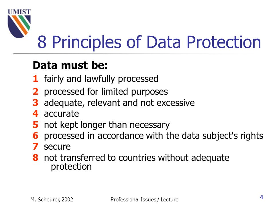 8 Principles Of Data Protection