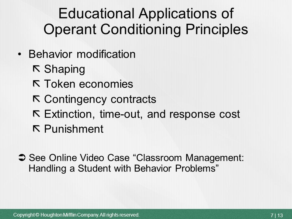 application of operant conditioning in the classroom