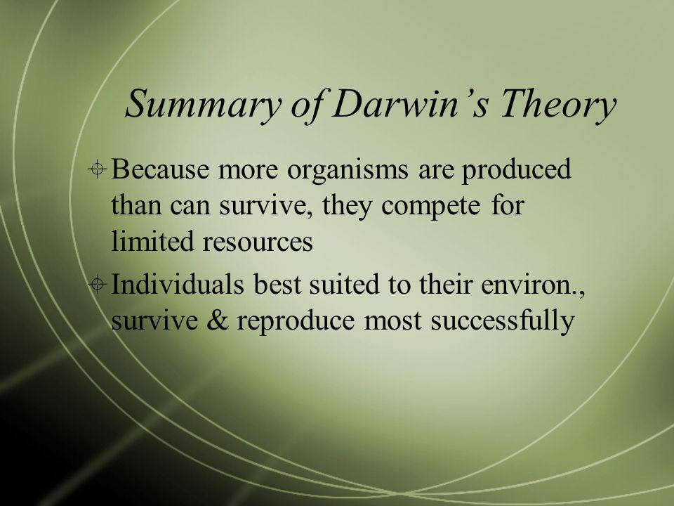 Summary of Darwin's Theory