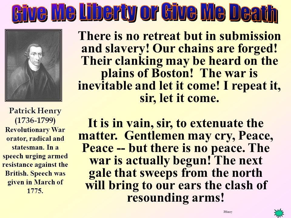 the war inevitable by patrick henry