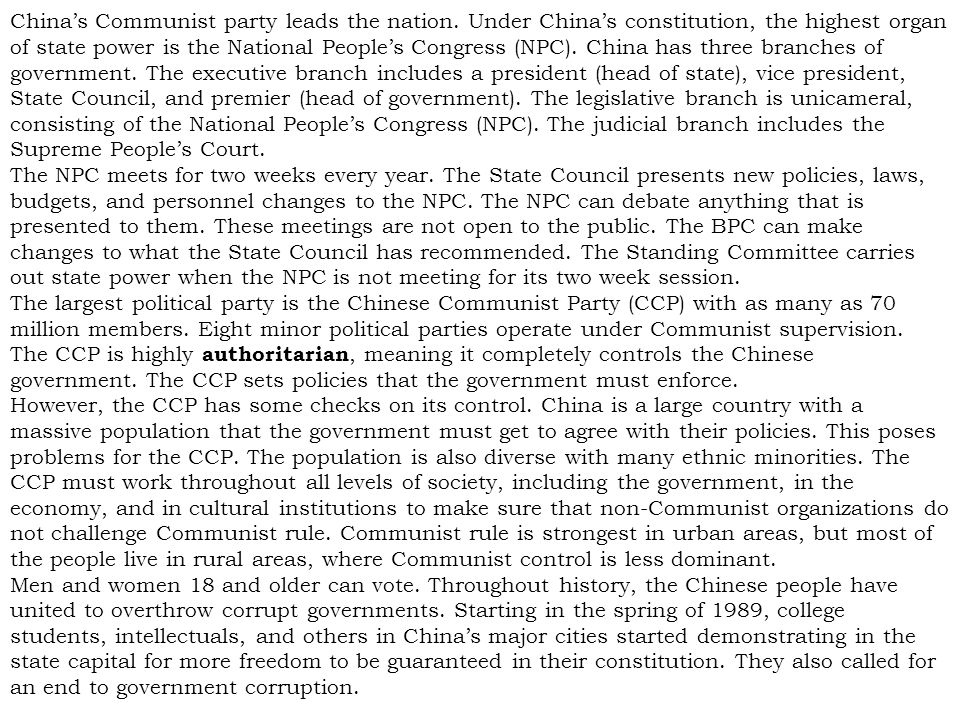 China's Communist party leads the nation