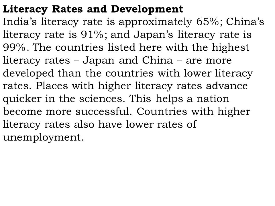 Literacy Rates and Development