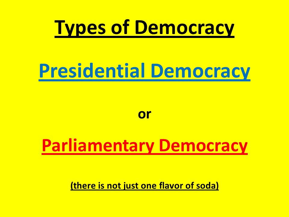 Types of Democracy Presidential Democracy