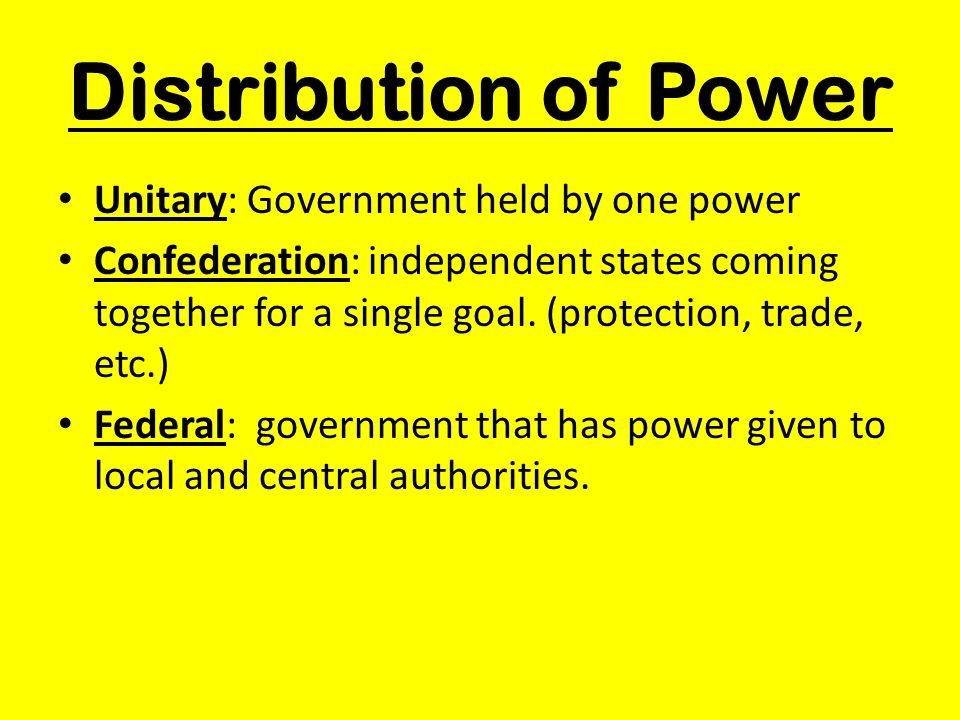 Distribution of Power Unitary: Government held by one power