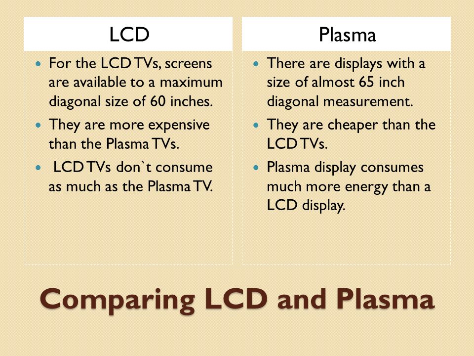 comparison lcd and plasma tv