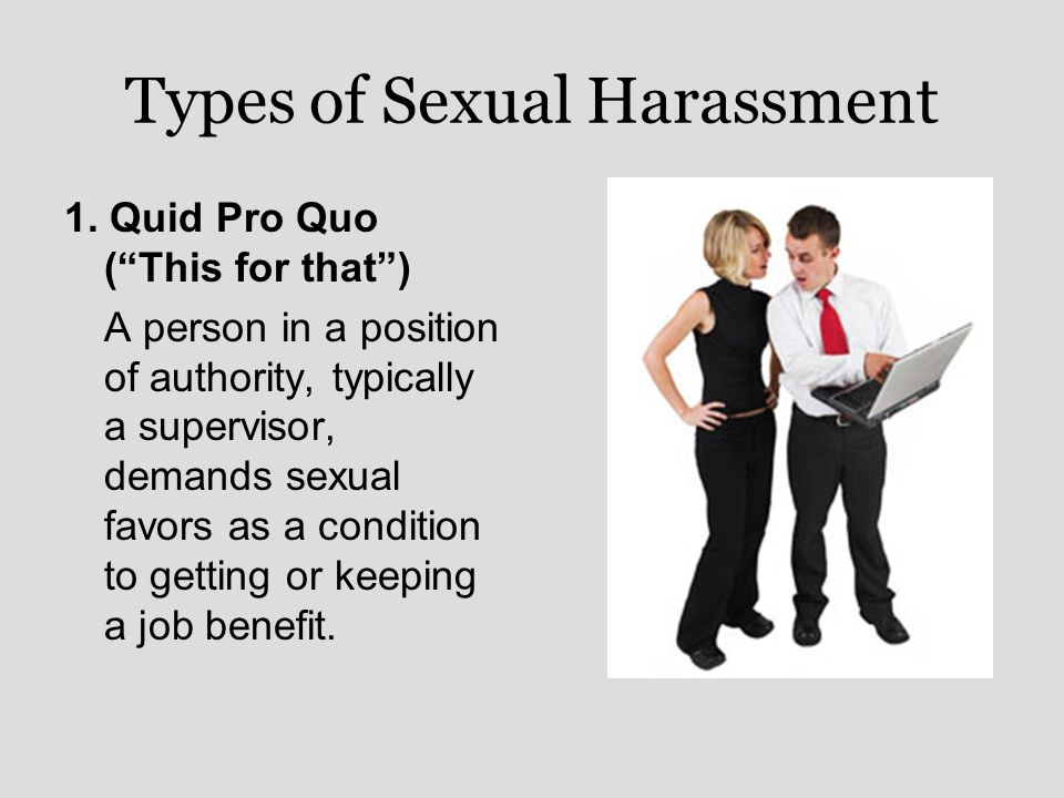 Types of sexual harassment quid pro quo definition
