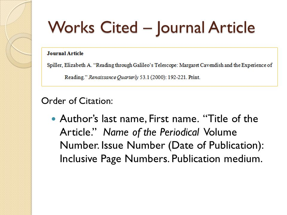 works cited for article