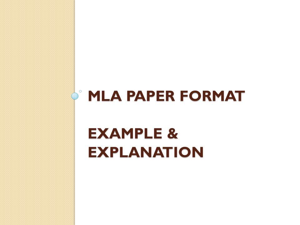 mla paper format examples
