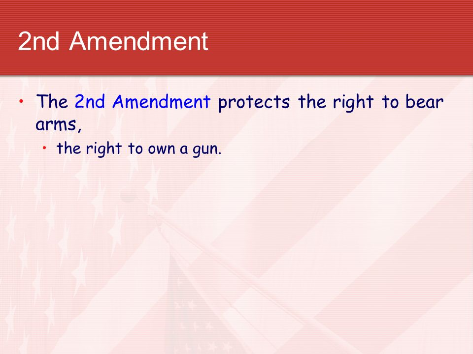 2nd Amendment The 2nd Amendment protects the right to bear arms,