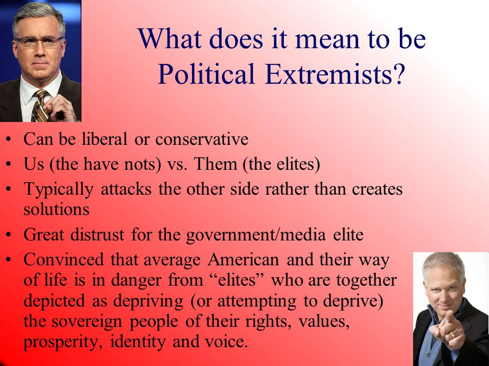 What does it mean to be Political Extremists