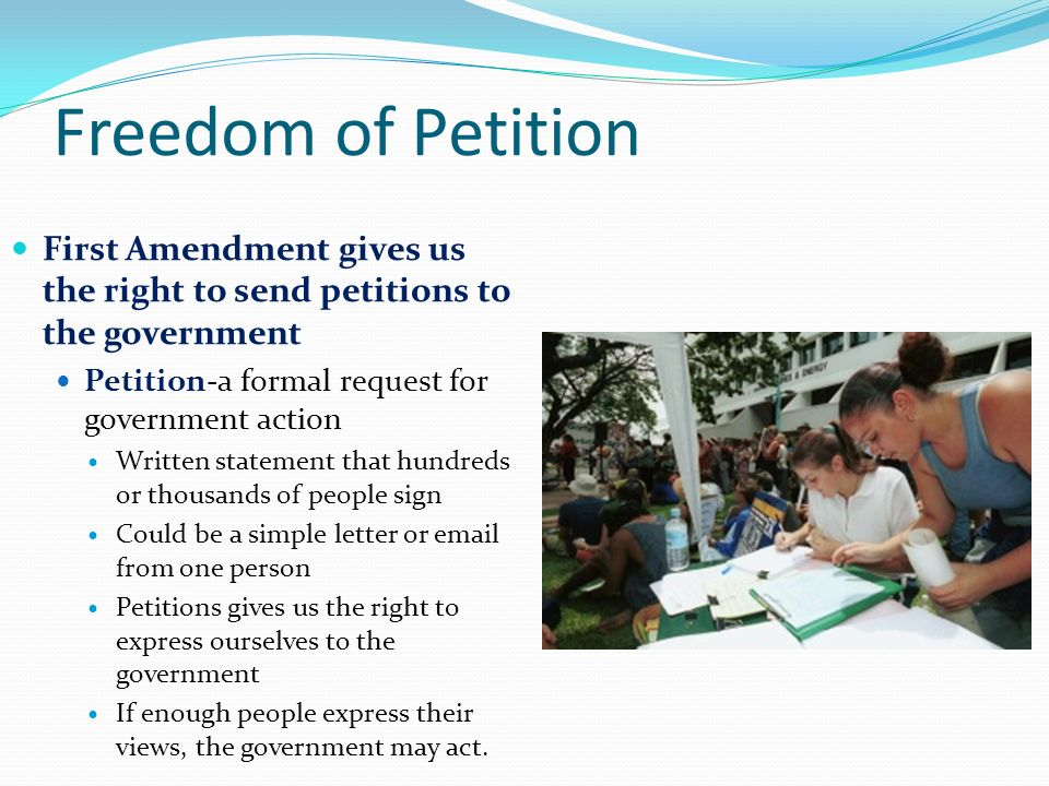 right to petition amendment the bill of rights chapter 6 ppt 9016