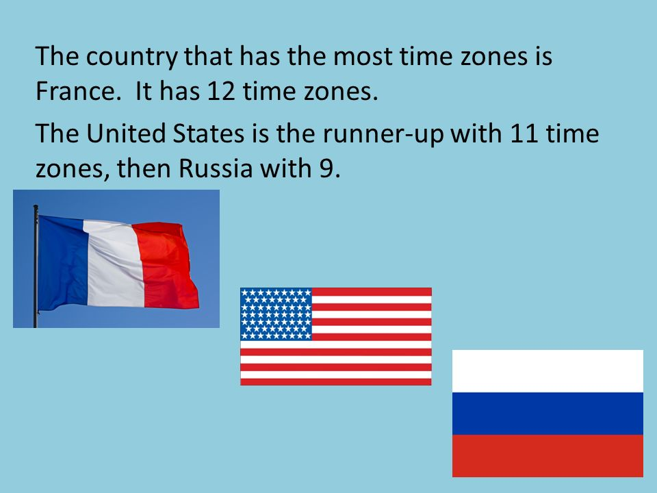 The country that has the most time zones is France