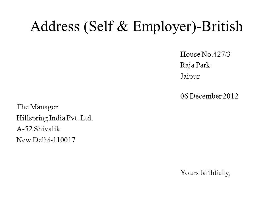 2 Address Self Employer British