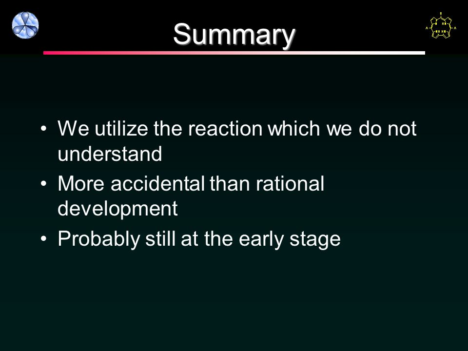 Summary We utilize the reaction which we do not understand