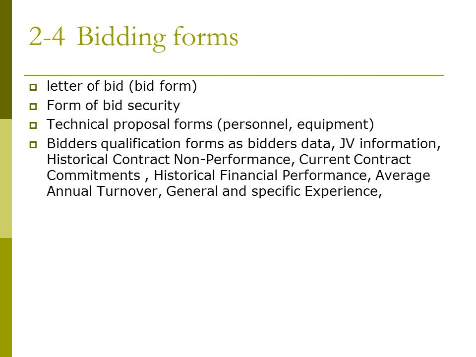 2 4 bidding forms letter of bid bid form form of bid security