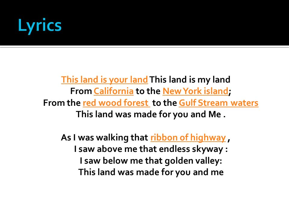 Woody Guthrie This Land Is Your Land Works Cited. - ppt video ...