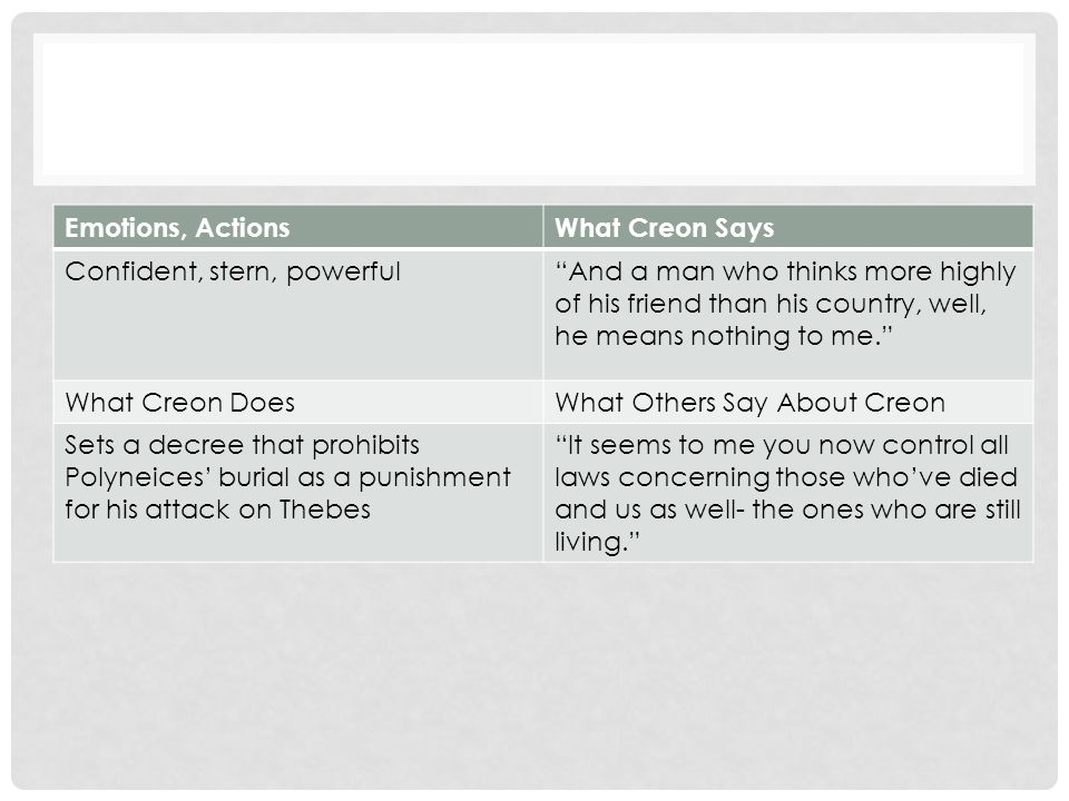 is creon a static or dynamic character