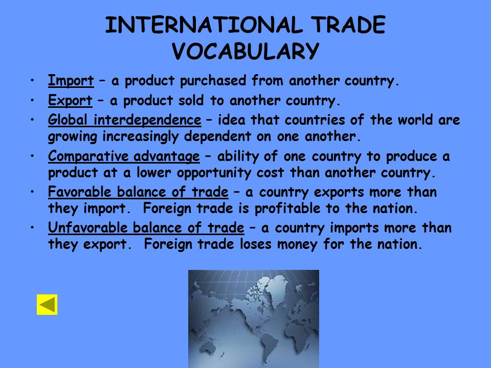 INTERNATIONAL TRADE VOCABULARY