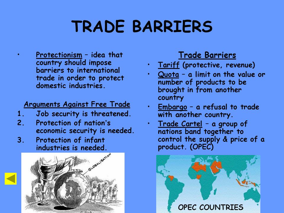 countries with trade barriers and free trade