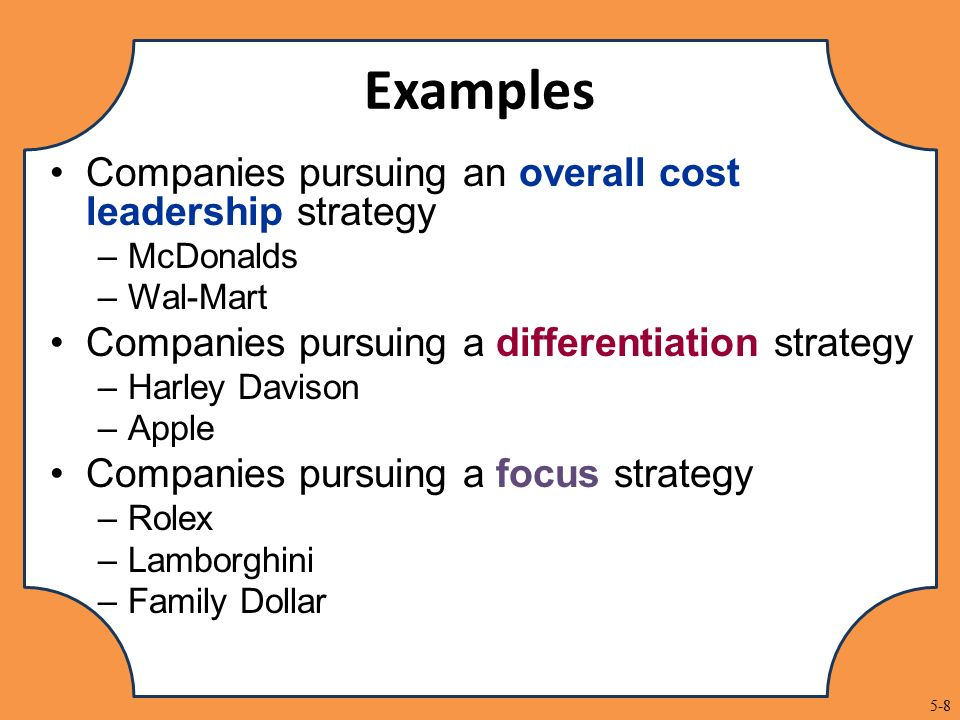 example cost leadership tesco However, tesco also incorporates the differentiation strategy (baroto et al, 2012), hence pursuing a hybrid strategy combining the two, while lidl solely follows the no-frills cost leadership strategy (geppert et al, 2015.