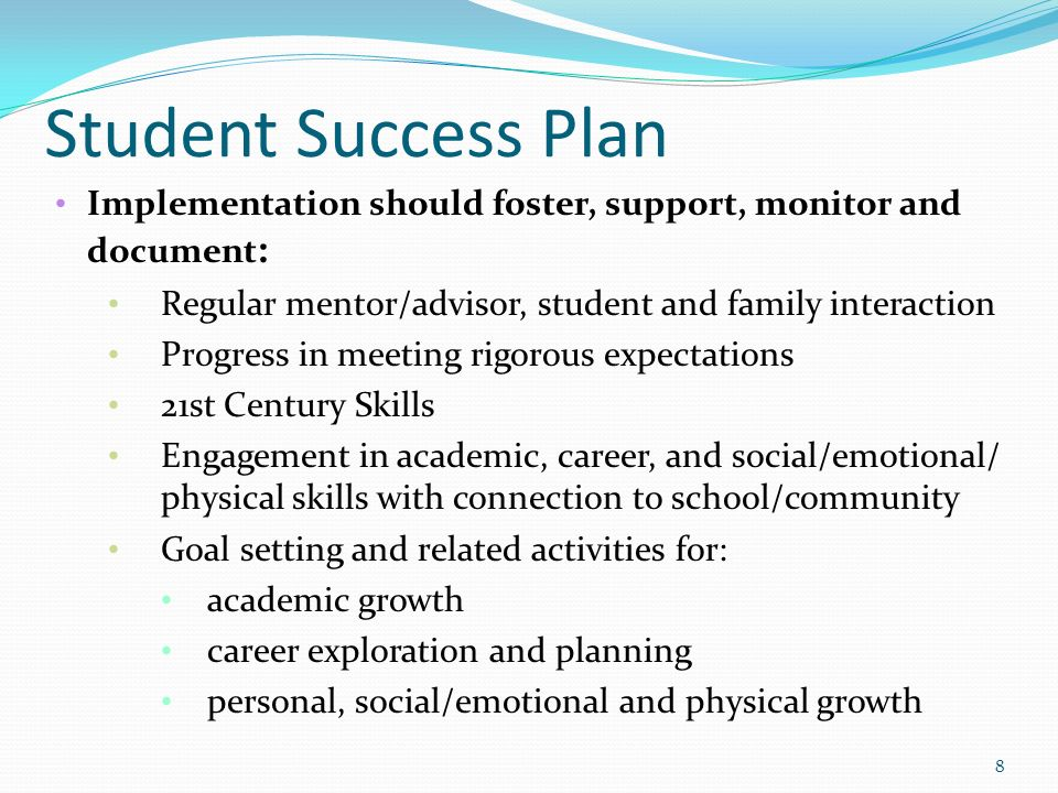 Student Success Plan Implementation Should Foster Support Monitor And Document Regular Mentor