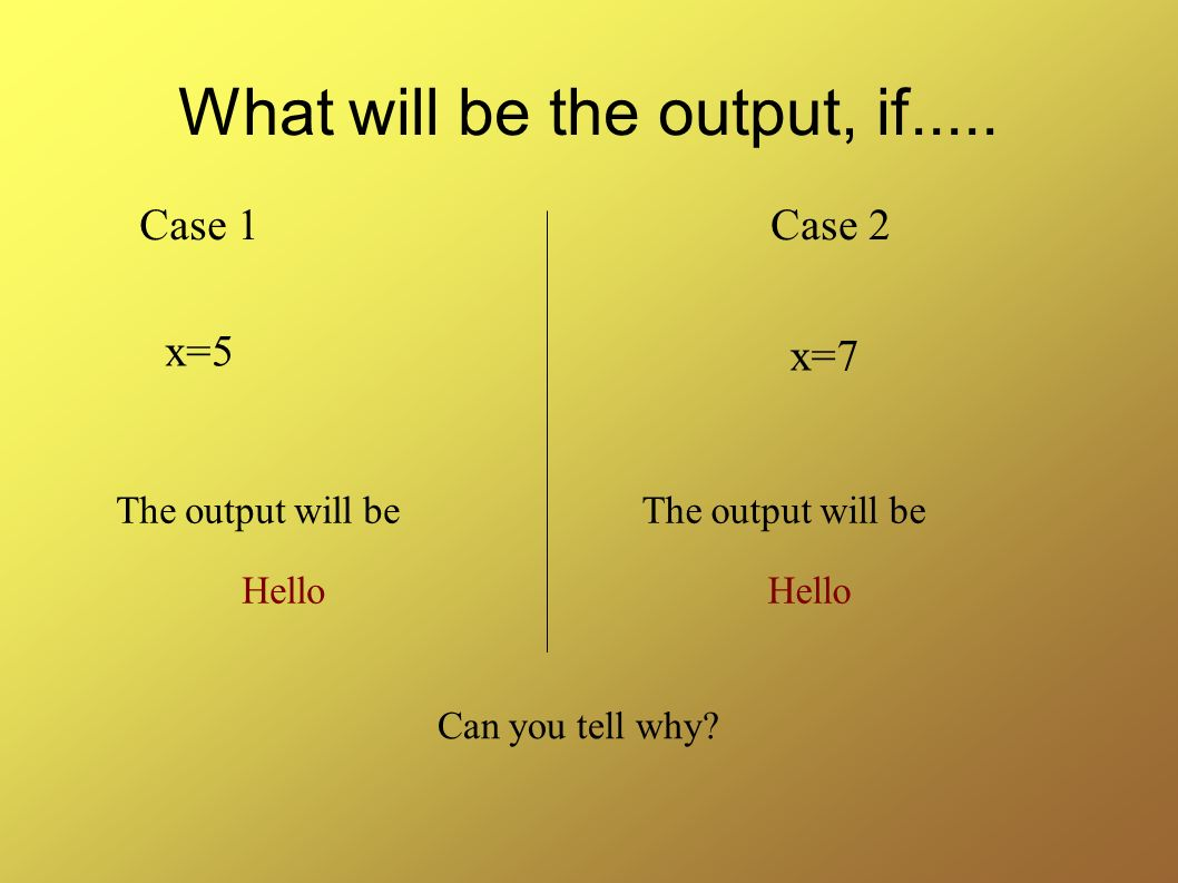 What will be the output, if.....