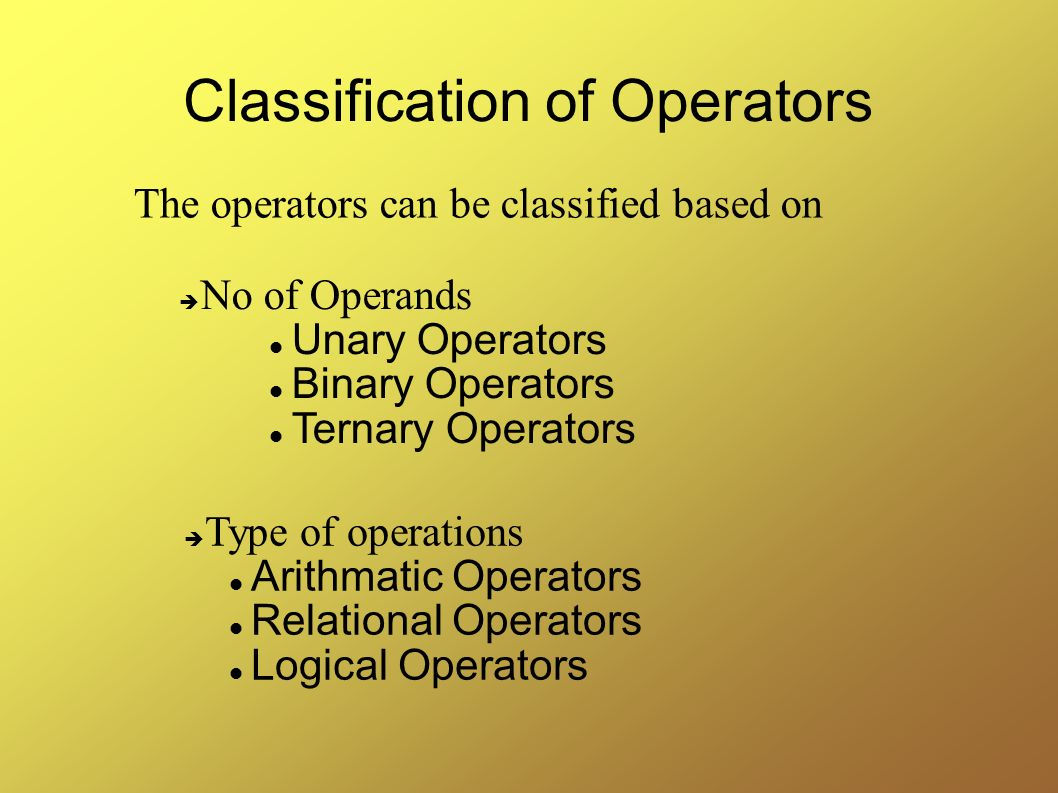 Classification of Operators