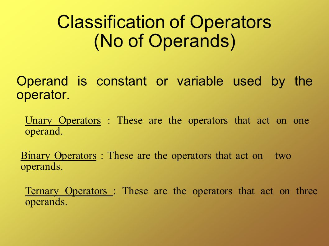 Classification of Operators (No of Operands)