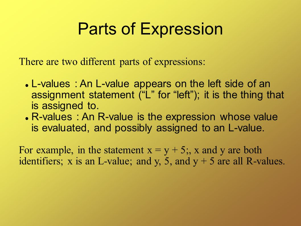 Parts of Expression There are two different parts of expressions: