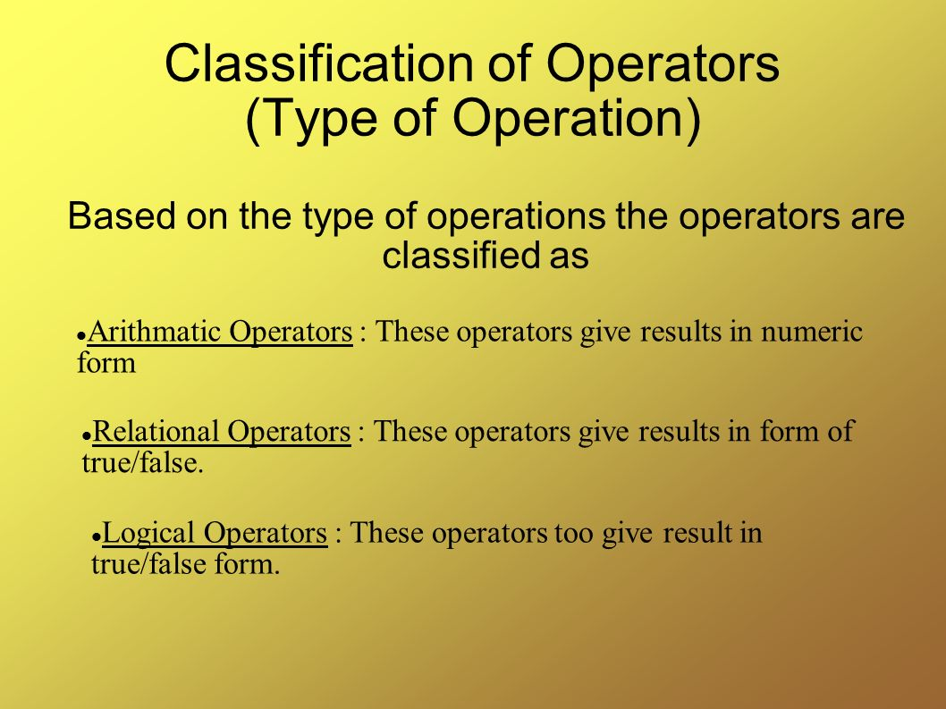Classification of Operators (Type of Operation)