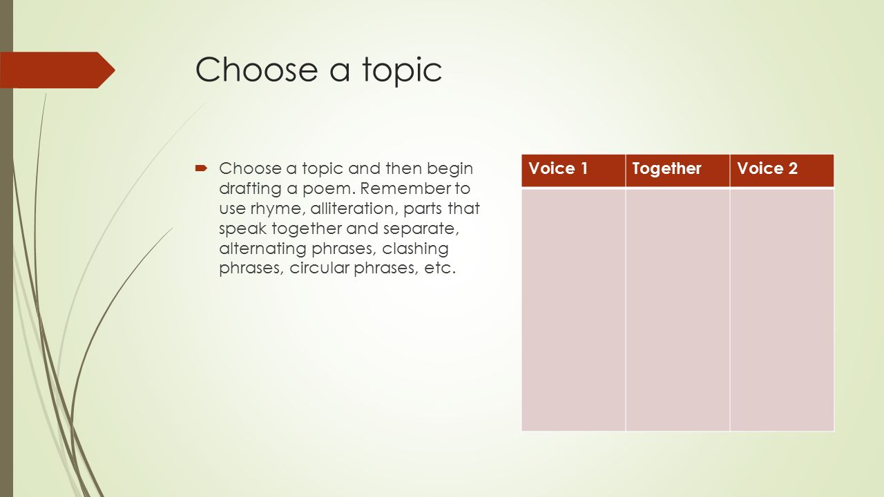 Poetry spoken in two voices - ppt video online download