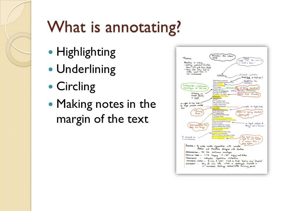 What is annotating Highlighting Underlining Circling