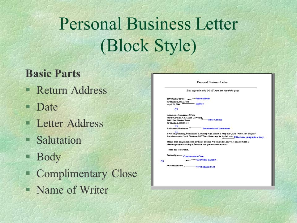 personal business letter block style