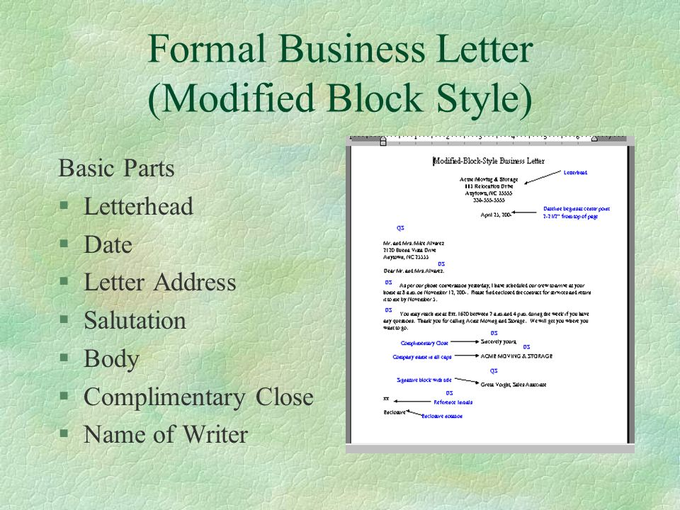 formal business letter modified block style - Main Parts Of Business Letter