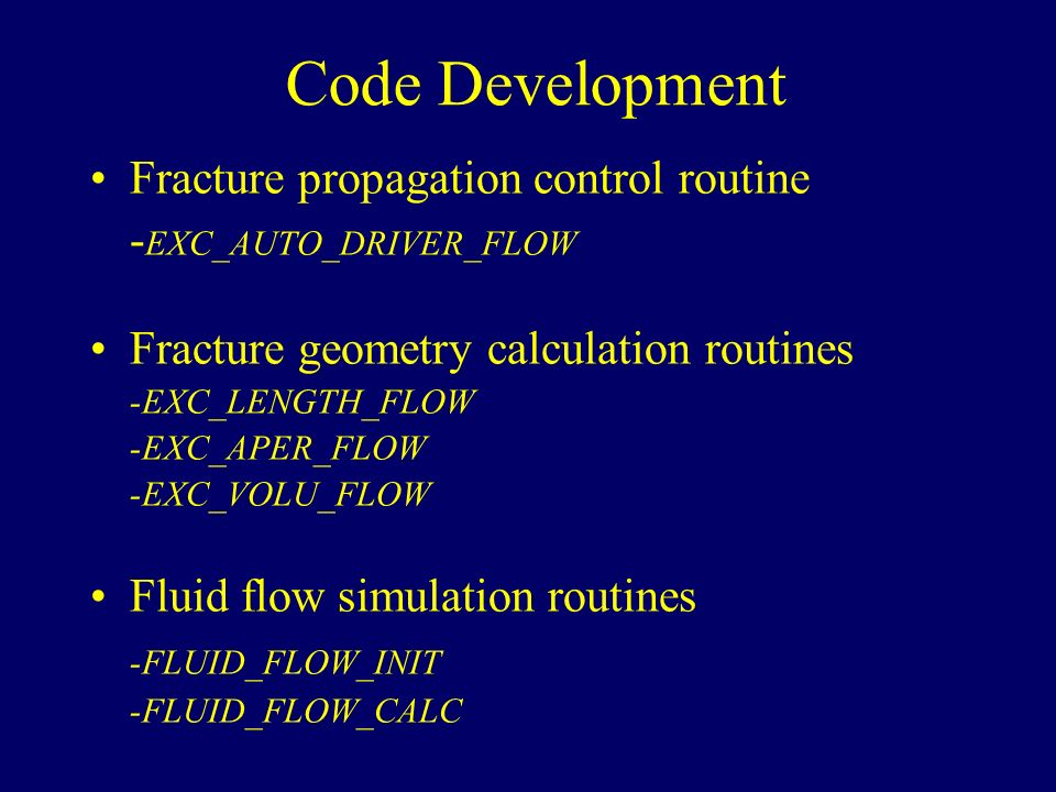 Two Dimensional Hydraulic Fracture Simulations Using FRANC2D - ppt
