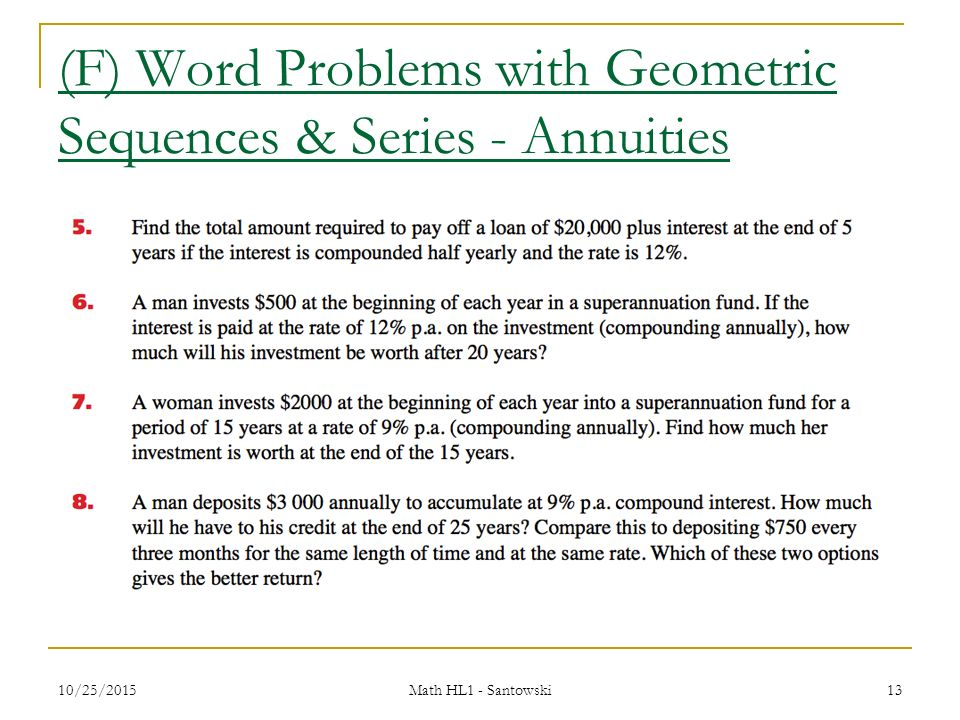 Top Five Geometric Series And Sequences Word Problems - Circus