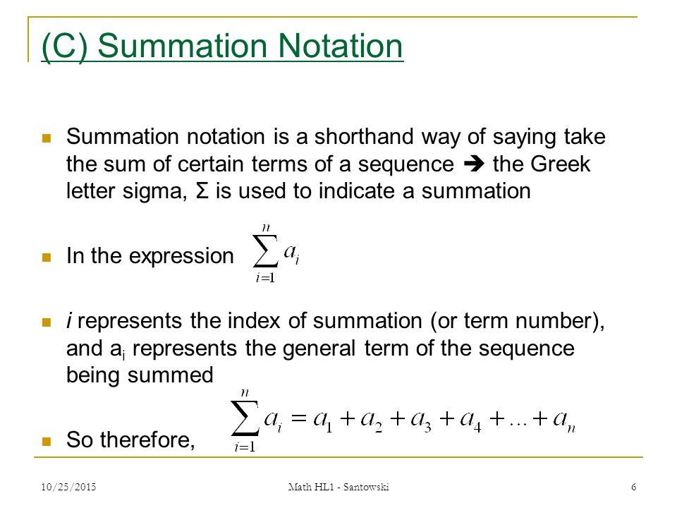 Lesson 4 Summation Notation Infinite Geometric Series Ppt