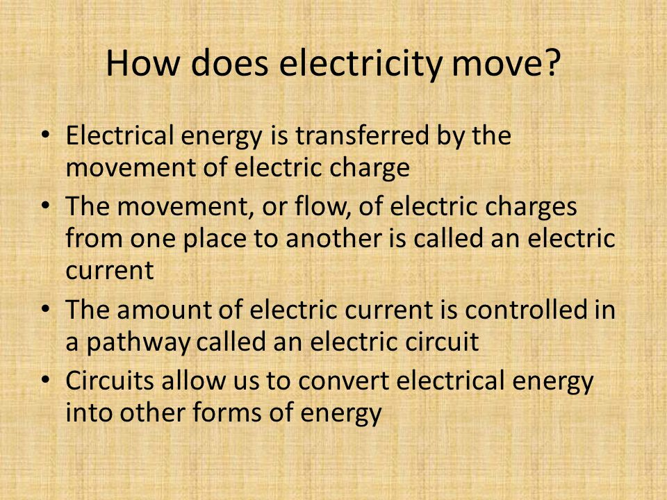 How does electricity move