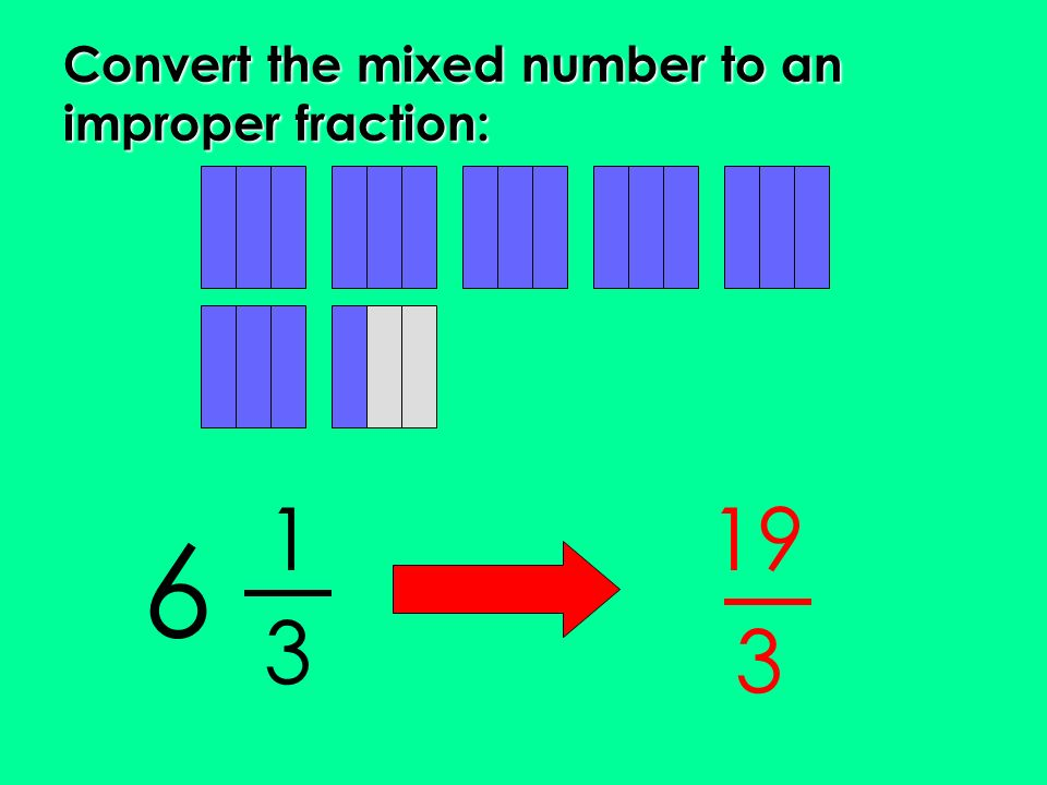 Convert the mixed number to an improper fraction:
