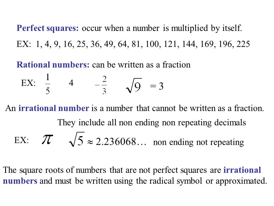 9 1 To Evaluate Square Roots Objective Part I Evaluating Square Roots Ppt Download The square root of 25 is 5 because 52 = 25. 9 1 to evaluate square roots objective