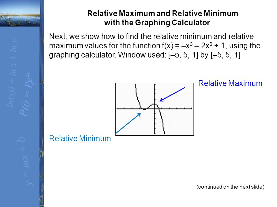 Solved: use a graphing calculator to find the relative max.