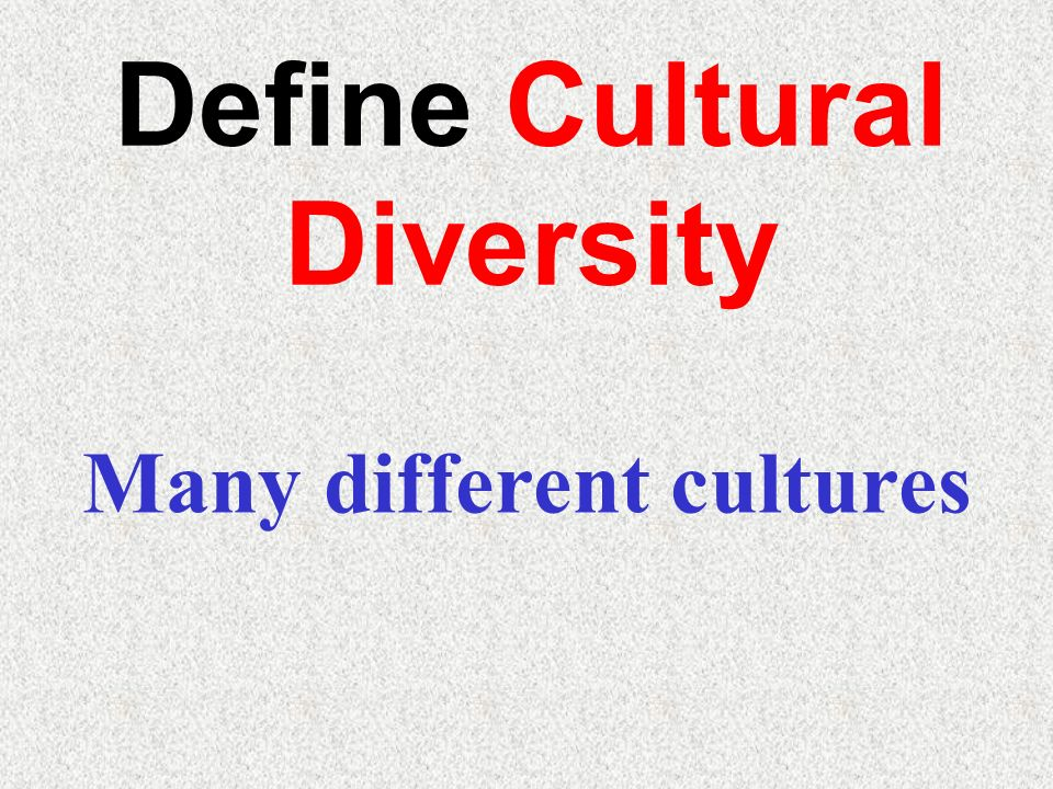 Define Cultural Diversity Many different cultures