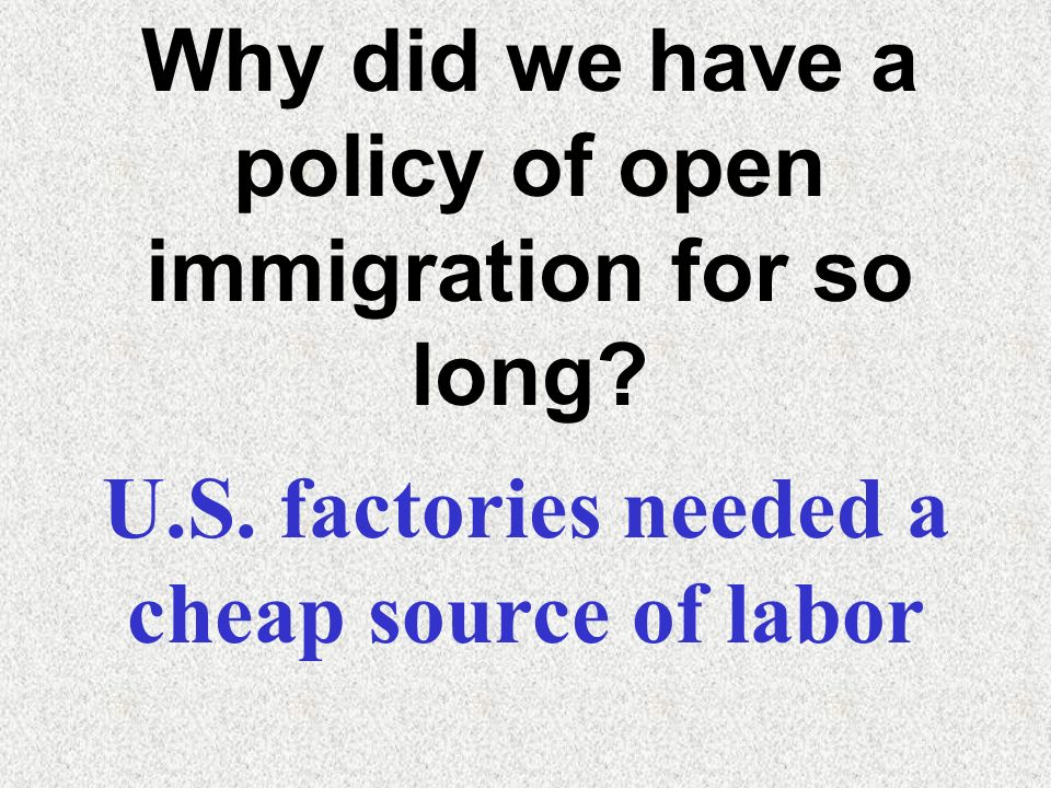 Why did we have a policy of open immigration for so long