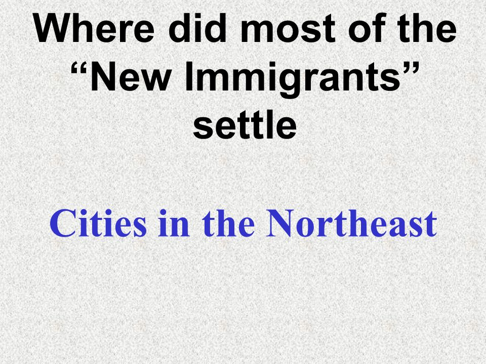 Where did most of the New Immigrants settle Cities in the Northeast