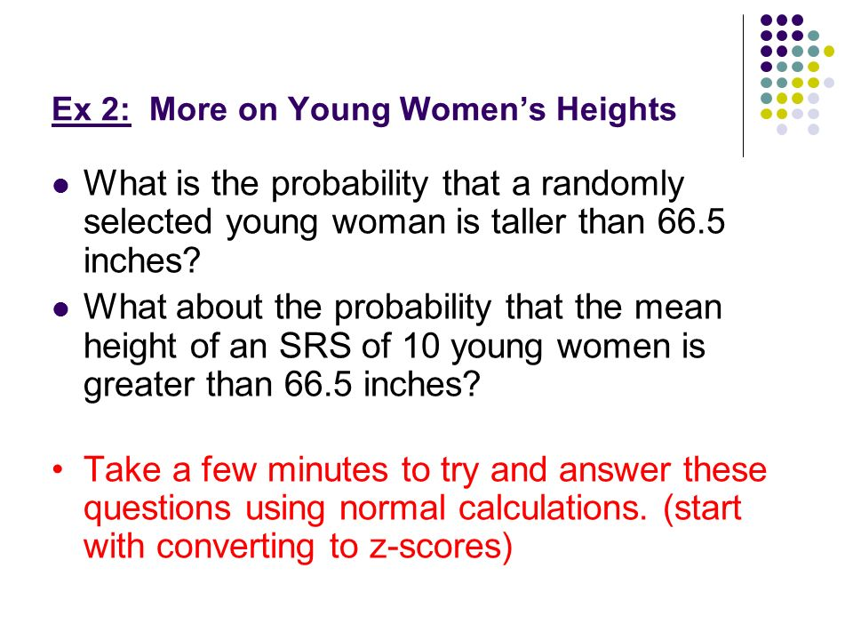 Ex 2: More on Young Women's Heights