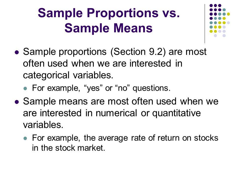 Sample Proportions vs. Sample Means