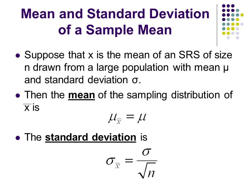 Mean and Standard Deviation of a Sample Mean