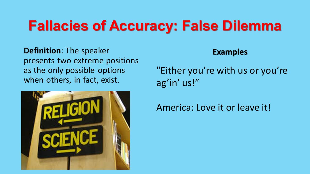 fallacies and dirty tricks identification Fallacy identification exercises many of the following exercise examples are from hurley's concise introduction to logic try to identify the fallacy each commits and be able to support your choice 1 delay argues that stem-cell research is immoral but delay is an ultra.