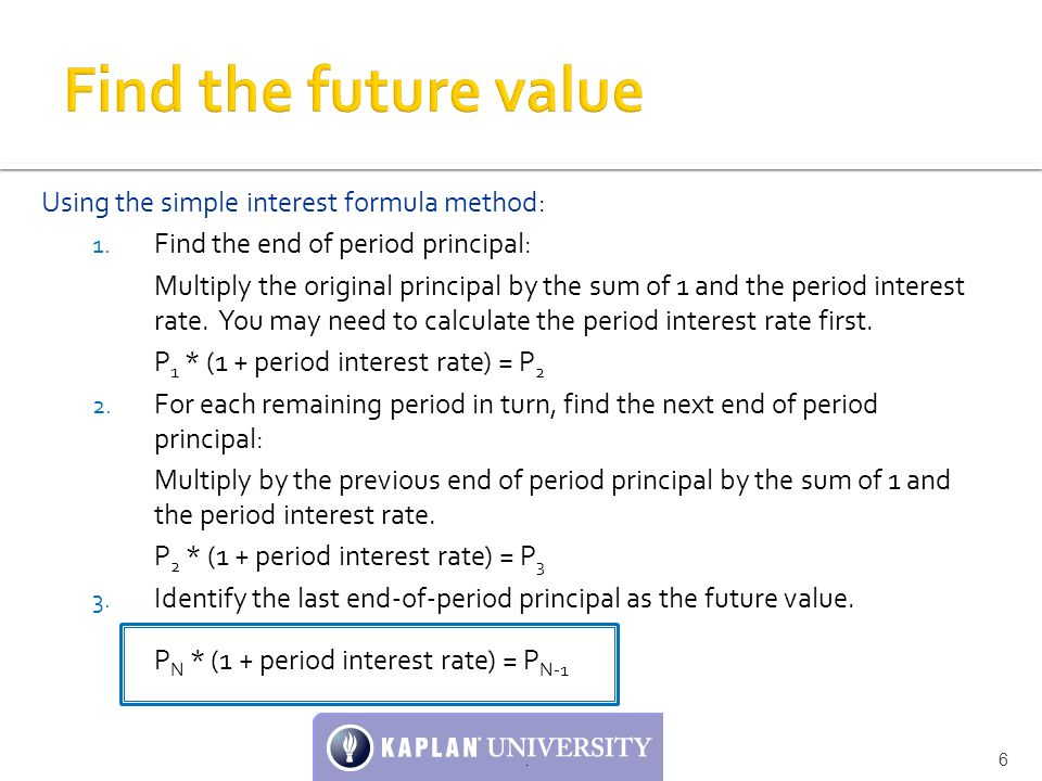find the future value using the simple interest formula method
