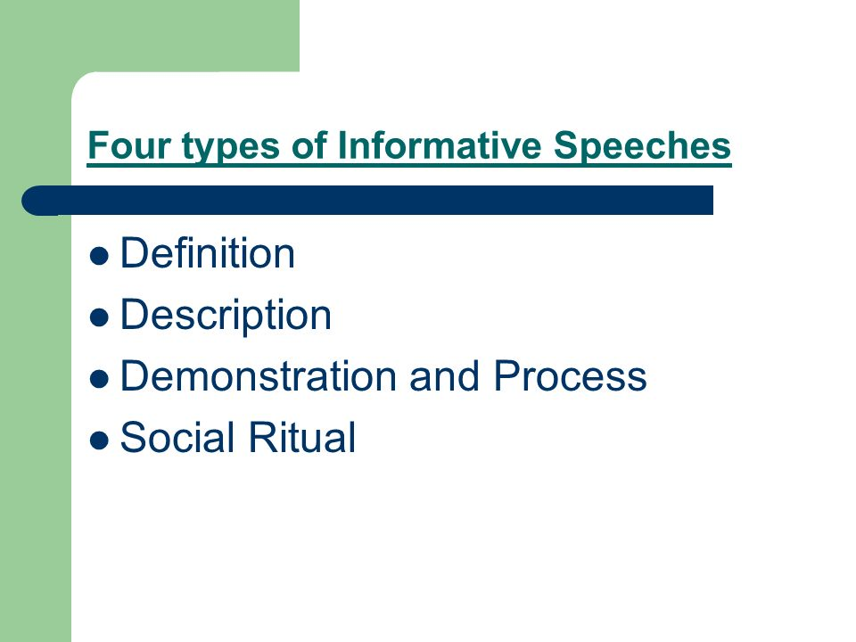4 types of informative speeches